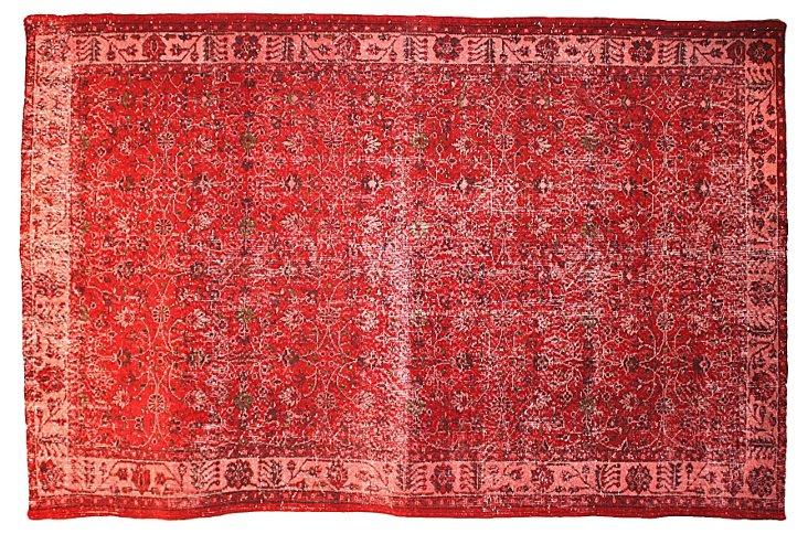"Red Overdyed Turkish Rug, 9'6"" x 6'3"""