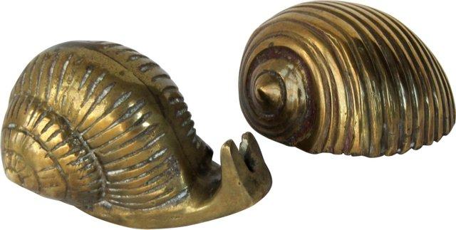 Brass Snail & Shell, Pair