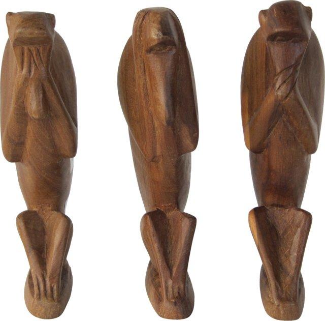 Carved Wood Monkeys, S/3
