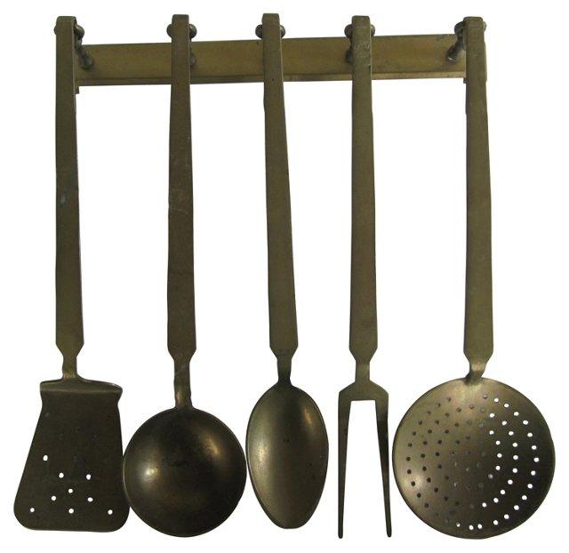 Brass Kitchen Utensils & Rack, S/6