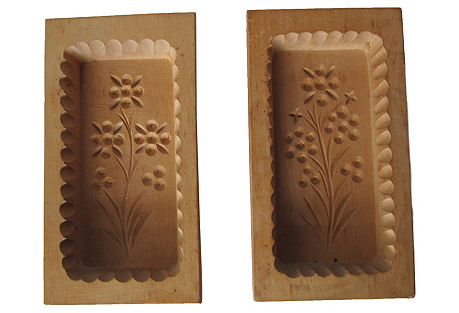 Wood Butter Molds, Pair