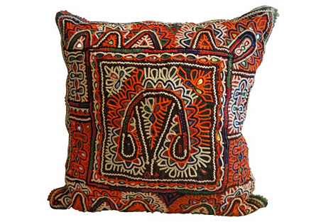 Antique Embroidered Tribal Pillow