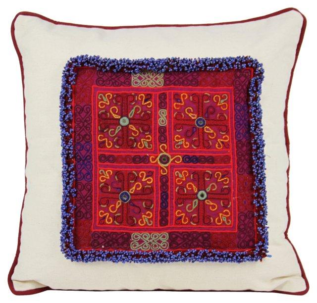 Vibrant  Medallion Chakla  Pillow