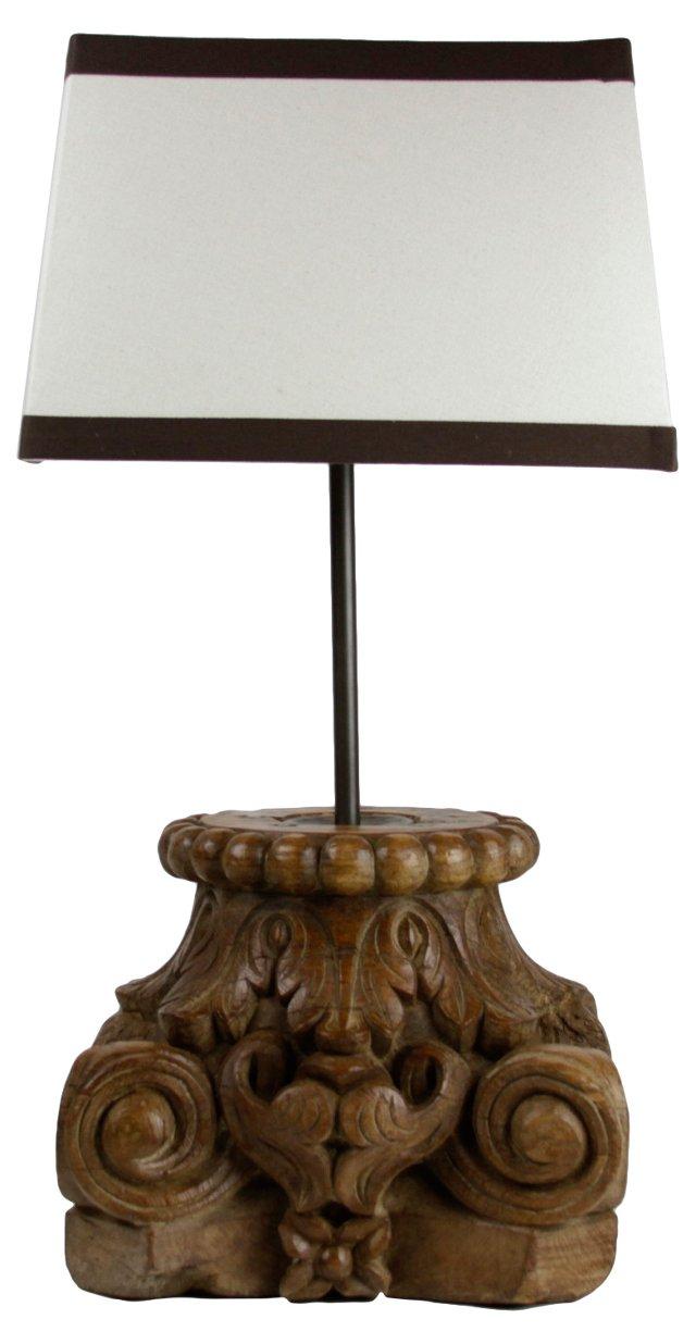 Antique Carved Column Lamp