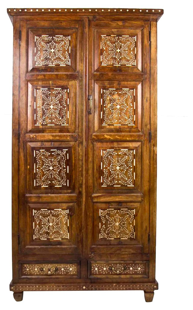 Colonial Bone Inlaid Armoire