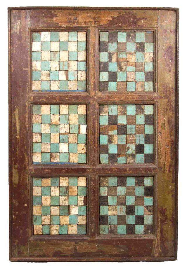 Aqua Checkered Wall Panel