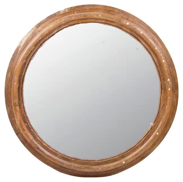 Teak Rustic Round Mirror
