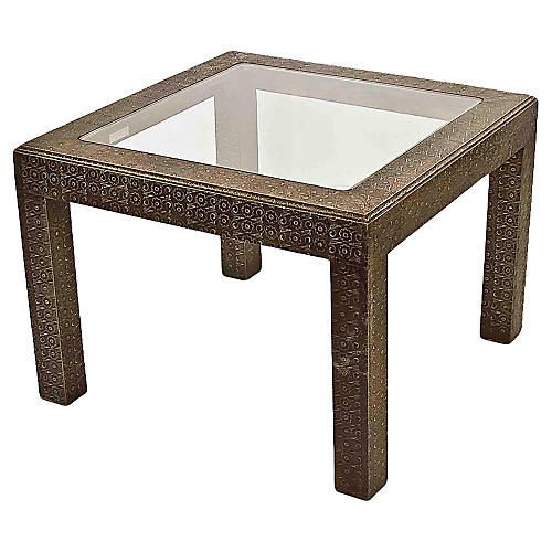 Embossed Silver & Glass Coffee Table