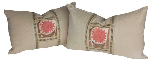 Suzani Linen   Pillows, Pair