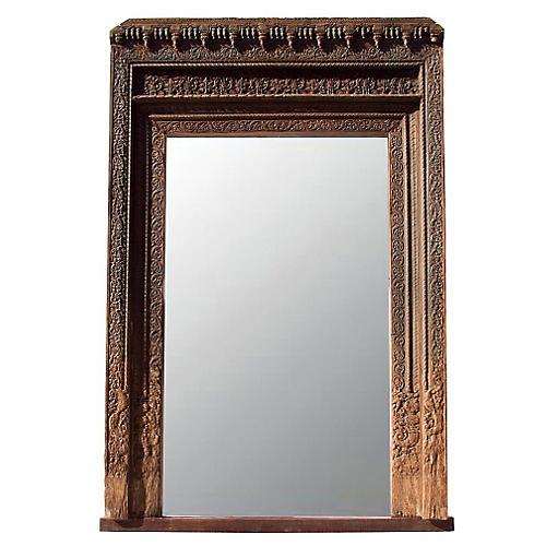 18th-C. Mandawa Door Floor Mirror