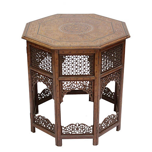 Antique Moorish Bone Inlaid Table