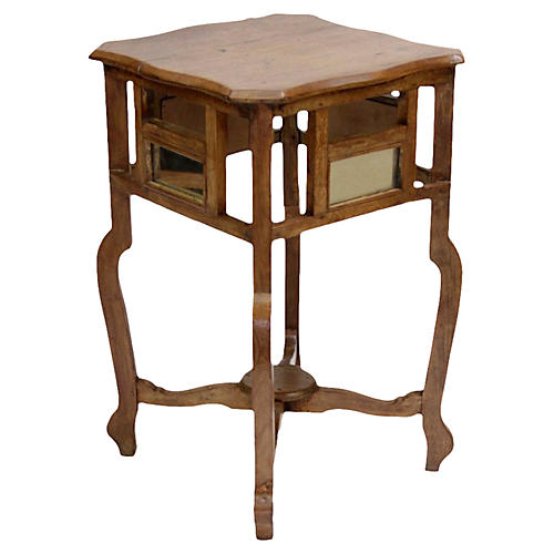 British Colonial Mirrored Side Table