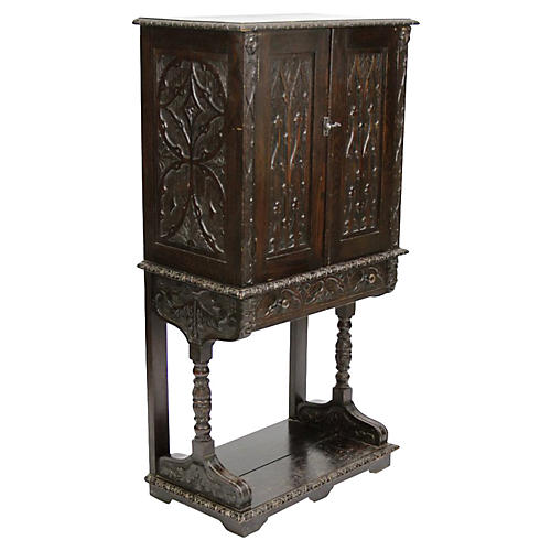 Tudor Oak Vargueno Cabinet on Stand