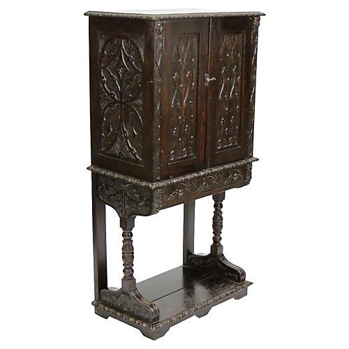 Tudor Oak Vargueno Cabinet on Stand