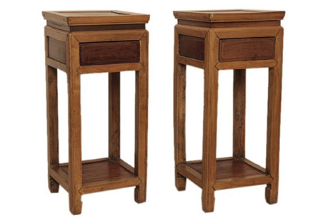 Chinese Fruitwood Altar Stands, Pair
