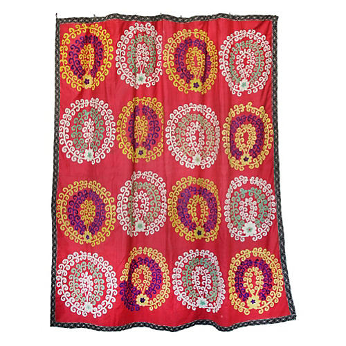 Peacock Embroidered Red Suzani Throw