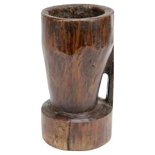 Antique Naga Wood Mortar w/ Handle