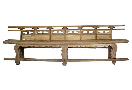 18th-C. Chinese Elm Theater Bench