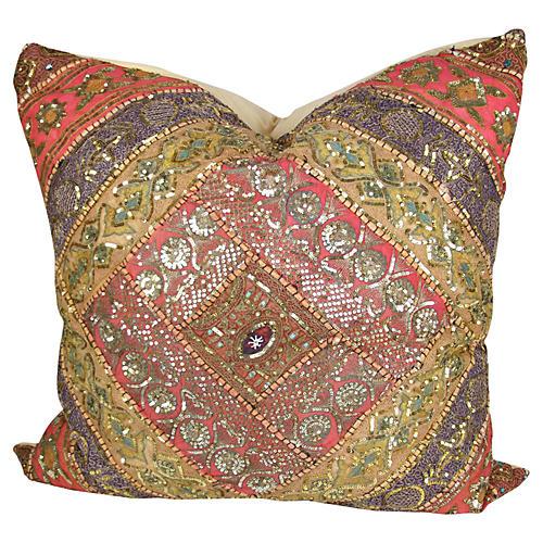 Large Golden Sitara Metallic Pillow
