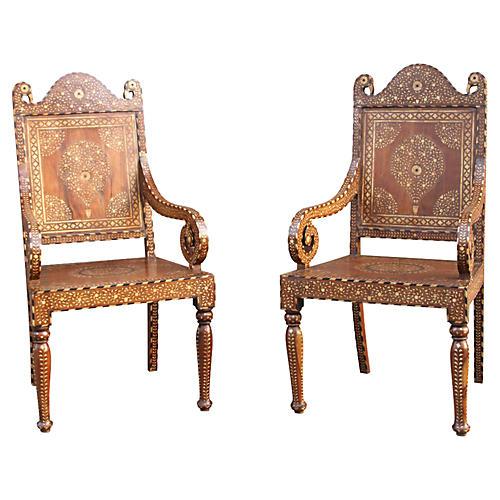 Teak Inlaid Peacock Chairs, Pair