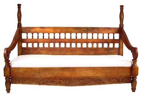 Bali Spindle Carved Teak Daybed