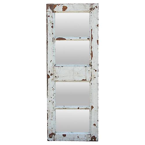 Distressed White Teak Mirror