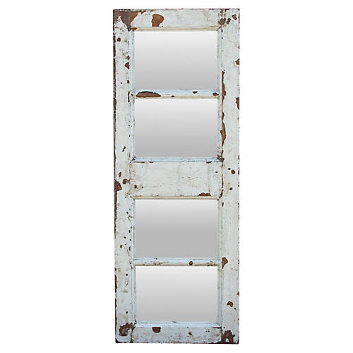Distressed White Teak Mirror