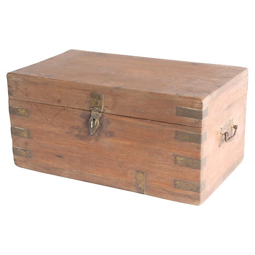Teak Brass Bound Merchant Box