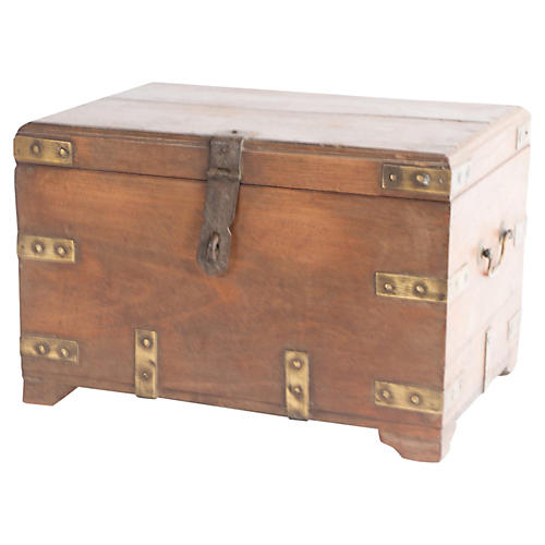 Teak Colonial Campaign Trunk