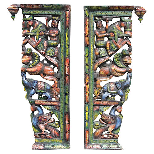 Indian Carved Folk Painted Corbels
