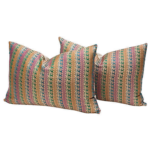 Varanasi Floral Metallic Pillows, Pair