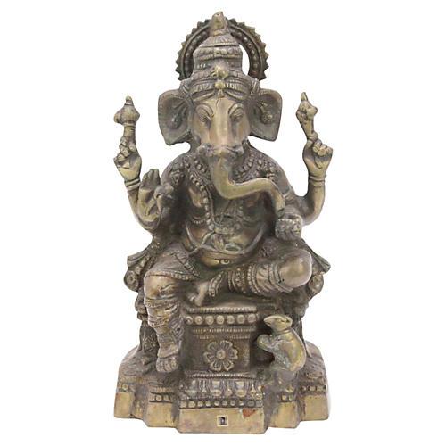 Brass Seated Ganesh Statue