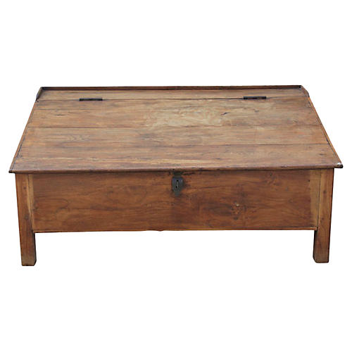 British Colonial Accountant Teak Trunk