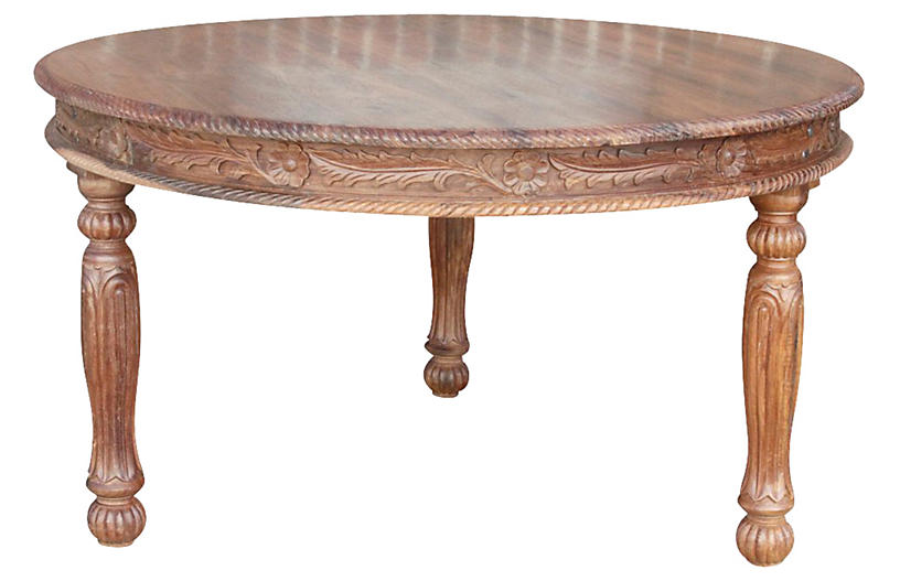 Anglo Indian Carved Round Library Table