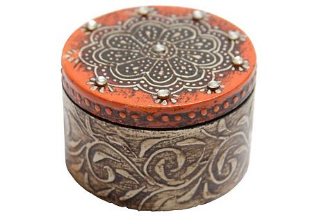 Tandori Orange Lac Jewelry Box