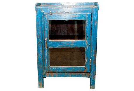 Farmhouse Blue Painted Cabinet