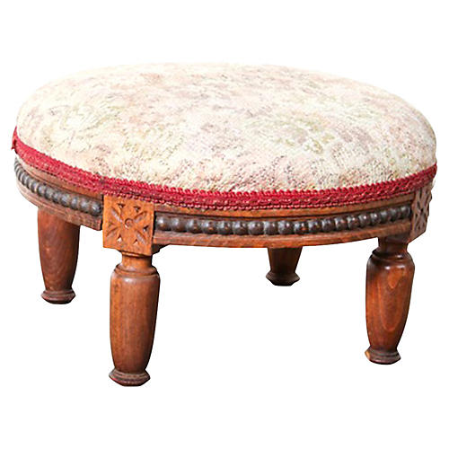 Petite European Upholstered Stool