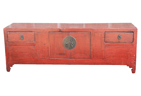 Petite Red Lacquered Altar Cabinet