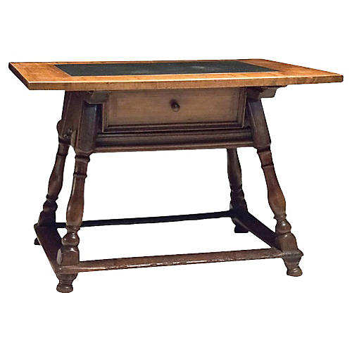 Antique Swiss Walnut Library Table