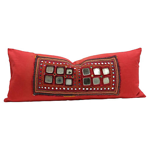 Sheesha Red Banjara Tribal Pillow