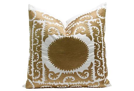 Oversize Gold Suzani Pillow