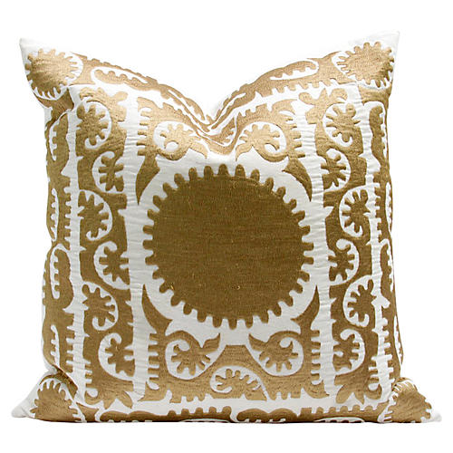 Gold Silk Suzani Pillow