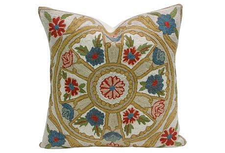 Goldenrod Gulmarg Aari Pillow