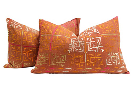 Tribal Phulkari Pillows, Pair