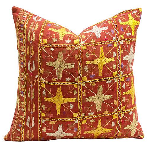 Phulkari Cross Emboireded Pillow