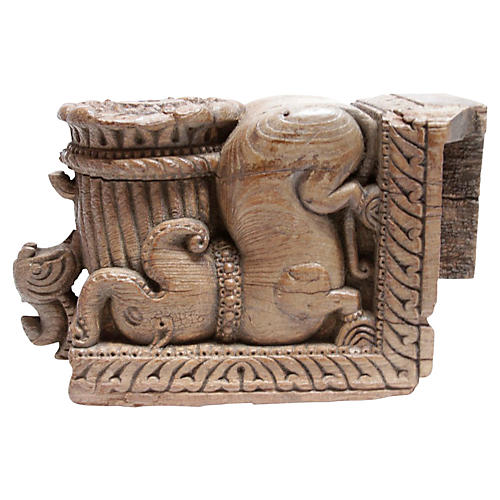 Antique Carved Elephant Corbel