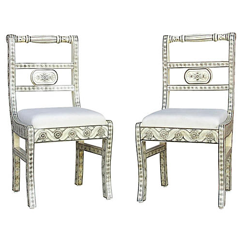 Anglo-Indian Bone Inlay Chairs, Pair