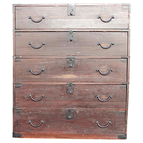 Grand Painted Japanese Tansu Dresser