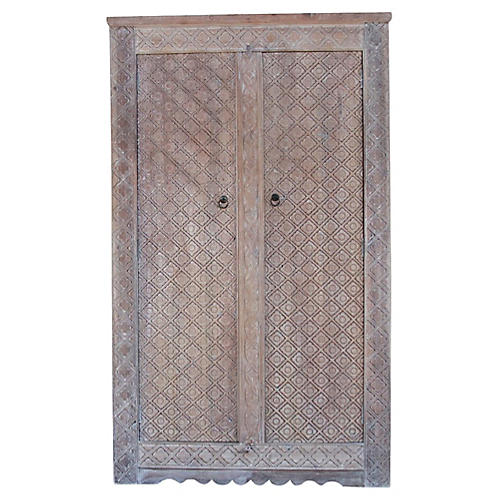 Whitewashed Heera Carved Armoire