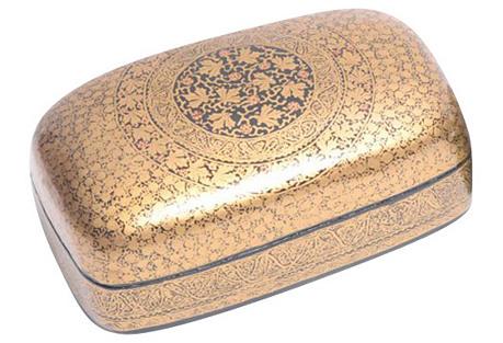 Ebony & Gold Vine Kashmiri Box